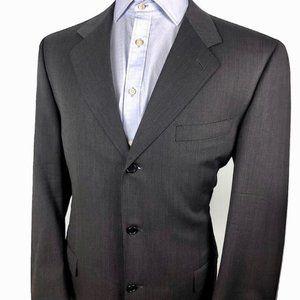 Canali Wool Blazer Three Button Black Mens 42L